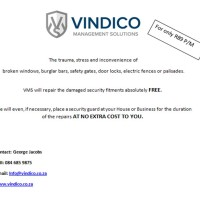 For Only R89 P/M VMS will repair the damages to your security fitments absolutely FREE