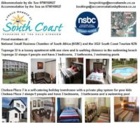 Accommodation By The Sea 0798168027 for reliable self-catering holiday accommodation close to beach